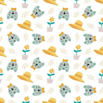 Zarys szkicu zwierząt i kwiatów z kolorami ikon i elementów projektu
