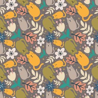 Zarys szkicu zwierząt kotów i liści z ikonami i kolorami elementów projektu