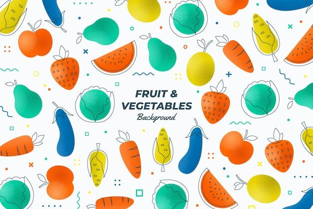 Zarys tła owoców i warzyw