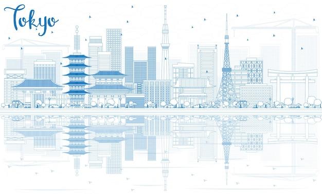Zarys tokio skyline z niebieskimi budynkami i odbiciami. ilustracja wektorowa. podróże służbowe i koncepcja turystyki z nowoczesną architekturą. obraz banera prezentacji i witryny sieci web.