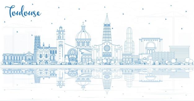 Zarys toulouse france city skyline z niebieskimi budynkami i odbiciami. ilustracja wektorowa. podróże służbowe i koncepcja z historyczną architekturą. toulouse gród z zabytkami.