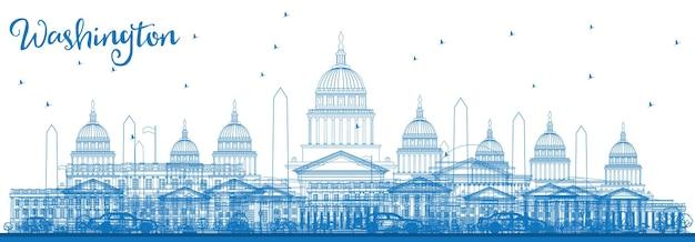 Zarys washington dc skyline z niebieskimi budynkami. ilustracja wektorowa. podróże służbowe i koncepcja turystyki z zabytkowymi budynkami. obraz banera prezentacji i witryny sieci web.