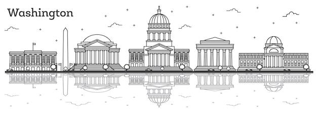 Zarys washington dc usa panoramę miasta z nowoczesnymi budynkami i refleksje na białym tle. ilustracja wektorowa. washington dc gród z zabytkami.