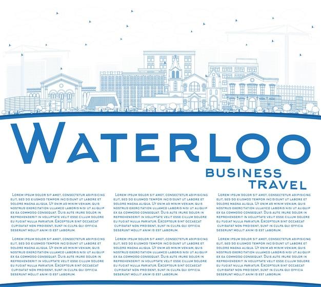 Zarys waterloo iowa skyline z niebieskimi budynkami i przestrzenią do kopiowania. ilustracja wektorowa. podróże służbowe i turystyka ilustracja z zabytkową architekturą.