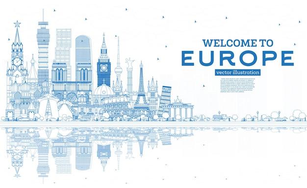 Zarys witamy w europie skyline z niebieskimi budynkami. ilustracja wektorowa. koncepcja turystyki z zabytkową architekturą. gród europy z zabytkami. londyn. berlin. moskwa. rzym. paryż.