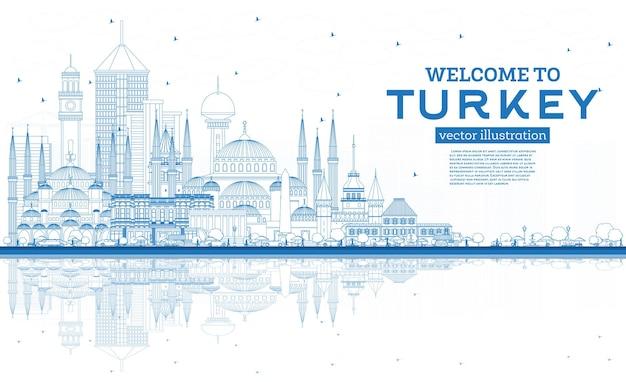 Zarys witamy w turcji skyline z niebieskimi budynkami i odbiciami. ilustracja wektorowa. koncepcja turystyki z zabytkową architekturą. turcja gród z zabytkami. izmir. ankara. stambuł.