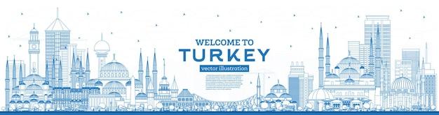 Zarys witamy w turcji skyline z niebieskimi budynkami. ilustracja. koncepcja turystyki z zabytkową architekturą. turcja pejzaż miejski z zabytkami