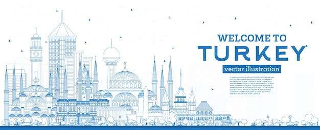Zarys witamy w turcji skyline z niebieskimi budynkami. ilustracja wektorowa. koncepcja turystyki z zabytkową architekturą. turcja gród z zabytkami. izmir. ankara. stambuł.