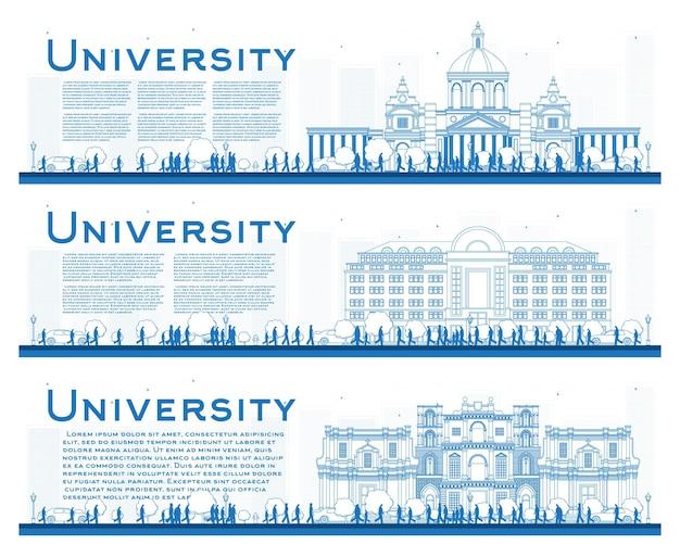Zarys zestaw banerów badania kampusu uniwersyteckiego. ilustracja wektorowa. studenci udają się do gmachu głównego uniwersytetu. baner z miejsca na kopię.