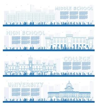 Zarys zestaw banerów badania uniwersytetu, liceum i college'u. ilustracja wektorowa. studenci udają się do gmachu głównego uniwersytetu. baner z miejsca na kopię.
