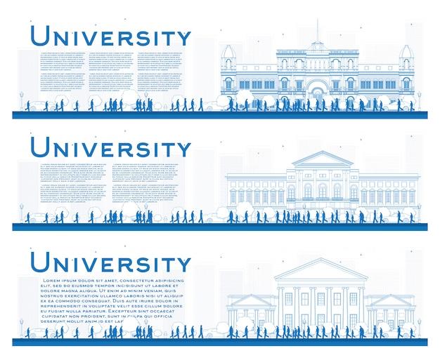 Zarys zestaw bannerów studiów uniwersyteckich.