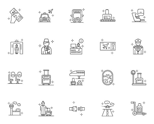 Zarys zestaw ikon lotnisko
