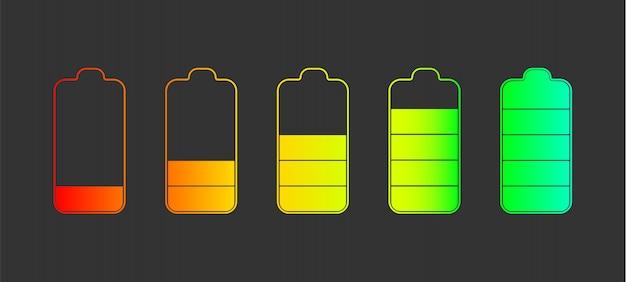 Zarys zestaw ikon wskaźników poziomu naładowania baterii.