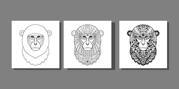 Zarys zestaw małp nadruki zwierzęce na tekstylia i koszulki drukuje projekt graficzny tatuażu