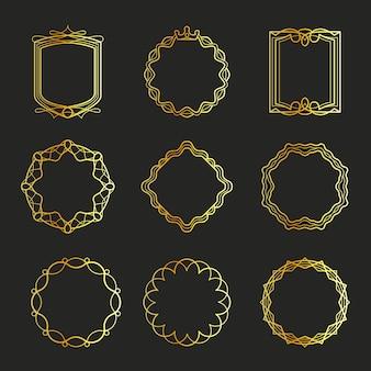 Zarys złote emblematy i ramki odznaki