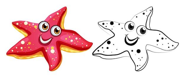 Zarys zwierząt dla rozgwiazdy ze szczęśliwą twarzą