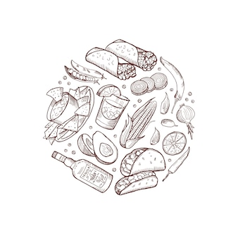 Zarysowane elementy kuchni meksykańskiej w formie koła izolowane
