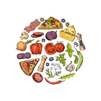 Zarysowane i kolorowe włoskie elementy pizza koncepcja koło. włoska pizza i smaczna ilustracja salami