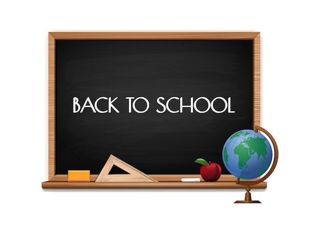 Zarząd szkoły z tekstem napisanym kredą. tablica z napisem. powrót do szkoły. projekt koncepcji transparentu szkolnego z czarną tablicą, jabłkiem i ilustracją świata