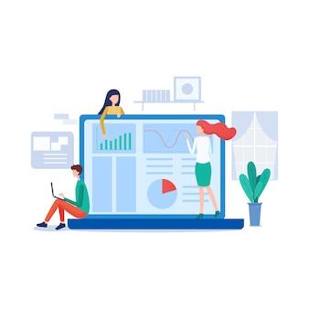 Zarządzaj ilustracją deski rozdzielczej w stylu mieszkania