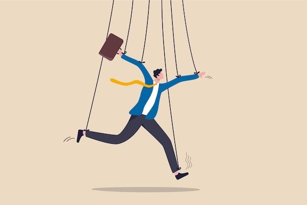 Zarządzanie biznesem, manipulacja ludźmi lub moc dominowania koncepcji działań, fałszywy biznesmen udający sprytnego z liną lub sznurkiem jako lalka lalkarza kontrolowana lub pod wpływem szefa władzy.