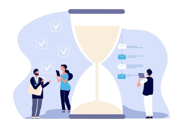 Zarządzanie czasem. asystenci biznesmena. skuteczne planowanie biznesowe, skuteczne rozwiązanie do pracy zespołowej