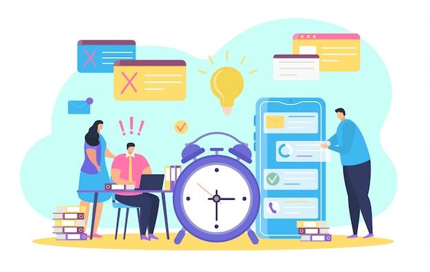 Zarządzanie czasem biznesowym, malutcy ludzie z kreskówek, postacie rozwiązujące zadania w pobliżu dużego zegara na białym tle