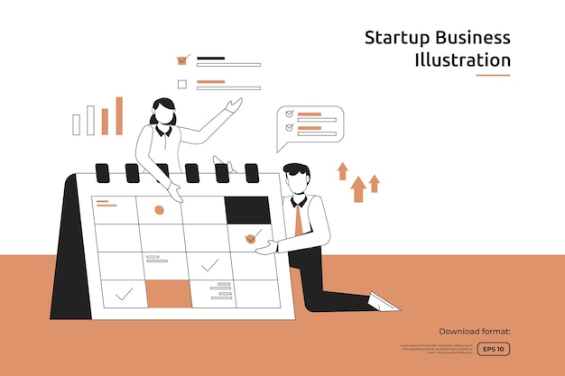 Zarządzanie czasem i harmonogram planowania biznesowego z ilustracji biznesmena i kalendarza. koncepcja uruchomienia i przedsięwzięcia inwestycyjnego. praca zespołowa metafora projektowanie strony docelowej strony internetowej lub strony mobilnej