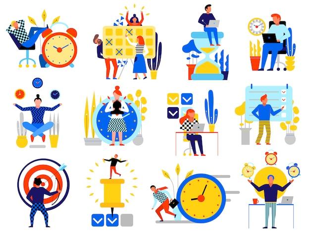 Zarządzanie czasem ikony zestaw z planowania harmonogramu symboli mieszkanie na białym tle
