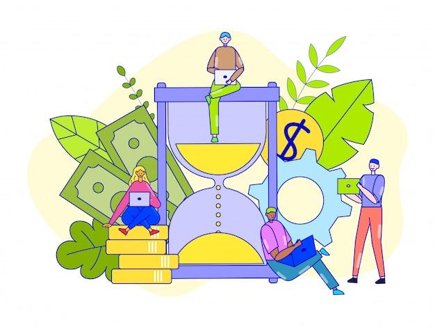 Zarządzanie czasem, ilustracja. ludzie biznesu kobiety mężczyzna racjonalnie wykorzystują godziny pracy dla sukcesu zawodowego.