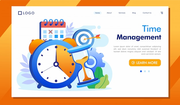 Zarządzanie czasem lądowania strony strony internetowej ilustraci wektor
