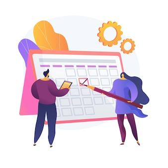 Zarządzanie czasem. metoda kalendarza, planowanie spotkań, organizator biznesowy. ludzie rysują znak w postaci z kreskówek harmonogramu pracy. praca zespołowa kolegów. ilustracja wektorowa na białym tle koncepcja metafora