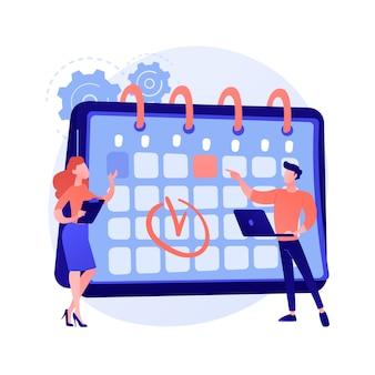 Zarządzanie czasem. metoda kalendarza, planowanie spotkań, organizator biznesowy. ludzie rysują znak w postaci z kreskówek harmonogramu pracy. praca zespołowa kolegów.