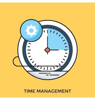 Zarządzanie czasem płaska wektorowa ikona