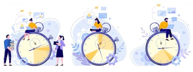 Zarządzanie czasem pracy. licznik godzin pracy, chronometrażysta wydajności i zespół ludzi pracujących na laptopie płaski zestaw ilustracji. postaci z kreskówek pracowników biurowych siedzi na stoper