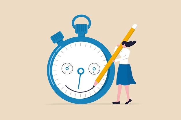 Zarządzanie czasem, zarządzanie terminem projektu, poprawa wydajności pracy lub produktywności, aby zakończyć projekt na czas, szczęśliwa kobieta przedsiębiorca rysująca uśmiechniętą twarz na czas odliczający zegar.