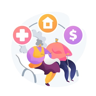 Zarządzanie emeryturami i majątkiem. ubezpieczenie zdrowotne, wybór miejsca zamieszkania, świadczenia finansowe. starsza para, plan oszczędnościowy dla osób starszych. ilustracja wektorowa na białym tle koncepcja metafora