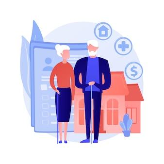 Zarządzanie emeryturami i majątkiem. ubezpieczenie zdrowotne, wybór miejsca zamieszkania, świadczenia finansowe. starsza para, plan oszczędnościowy dla osób starszych.