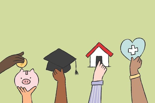 Zarządzanie finansami doodle ilustracji wektorowych