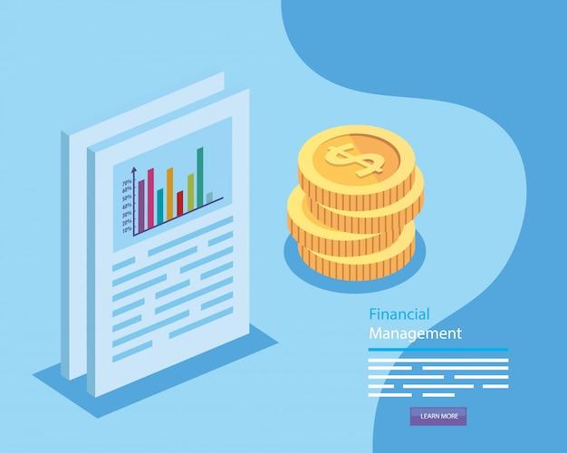 Zarządzanie finansami z dokumentem i stosem monet