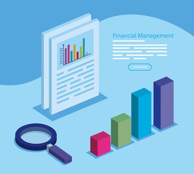 Zarządzanie finansami z infografiką i lupą