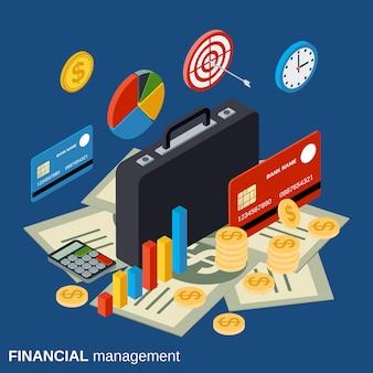 Zarządzanie finansowe płaskie izometryczny wektor koncepcja