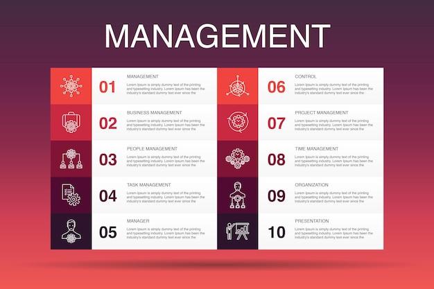 Zarządzanie infografika 10 szablon opcji. menedżer, kontrola, organizacja, prezentacja proste ikony