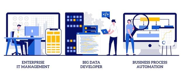 Zarządzanie it w przedsiębiorstwie, programista dużych zbiorów danych, koncepcja automatyzacji procesów biznesowych z małymi ludźmi. rozwiązania it oprogramowania streszczenie wektor zestaw ilustracji.