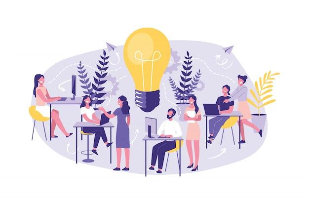 Zarządzanie koncepcjami biznesowymi, szkolenia, korporacje. duża grupa urzędników lub asystentów w poszukiwaniu nowych pomysłów, rozwiązań. burza mózgów.