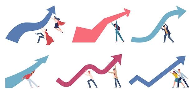 Zarządzanie kryzysowe. biznesmeni zmieniają kierunek biznesu, przesuwając w górę strzałkę wykresu finansowego, panikę na rynku, ryzyko gospodarcze, strategię gospodarczą, aby zatrzymać kryzys gospodarczy wektor zestaw płaskich postaci z kreskówek