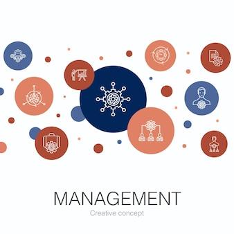 Zarządzanie modny szablon koło z prostymi ikonami. zawiera takie elementy jak manager, kontrola, organizacja, prezentacja