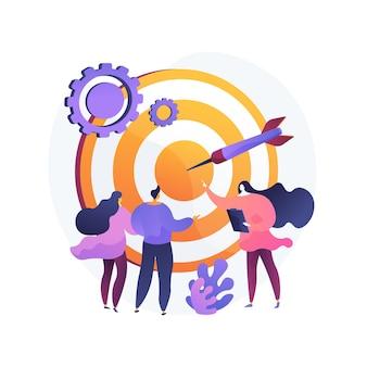 Zarządzanie personelem, definiowanie perspektywy, orientacja na cel. organizacja pracy zespołowej. trener biznesu, szefowie firmy i postacie z kreskówek personelu. ilustracja wektorowa na białym tle koncepcja metafora.