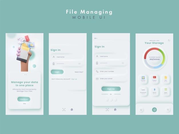 Zarządzanie plikami lub zestawy mobilnego interfejsu użytkownika do zarządzania danymi