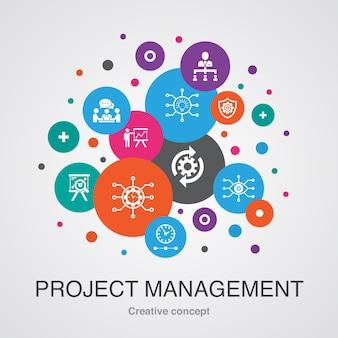 Zarządzanie projektami modna koncepcja projektowania bańki interfejsu użytkownika z prostymi ikonami. zawiera takie elementy jak prezentacja projektu, spotkanie, przepływ pracy, zarządzanie ryzykiem i inne
